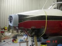 Here the cowl doors are strapped down for fitting of the nose bowl.